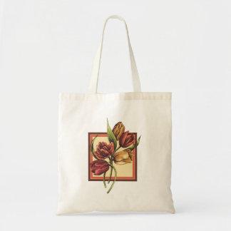 Bolsa Tote Ouro e tulipas vermelhas que sobrepor o quadro