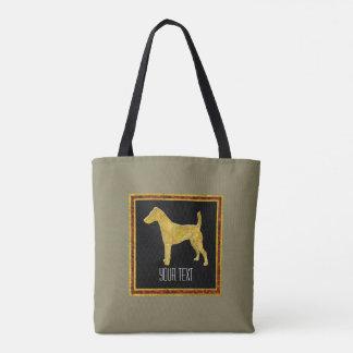 Bolsa Tote Ouro liso do Fox Terrier sua cor