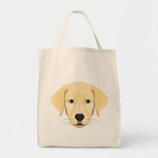 Bolsa Tote Ouro Retriver do filhote de cachorro da ilustração