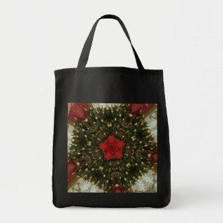 Bolsa Tote Ouro verde vermelho da grinalda do Natal com