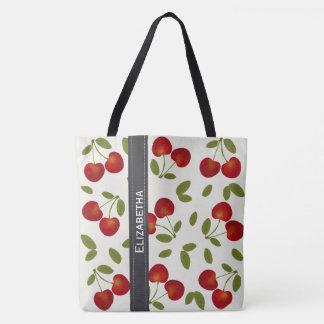 Bolsa Tote Padrões vermelhos da fruta das cerejas