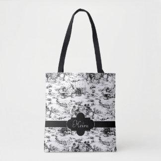 Bolsa Tote País preto e branco Toile do vintage