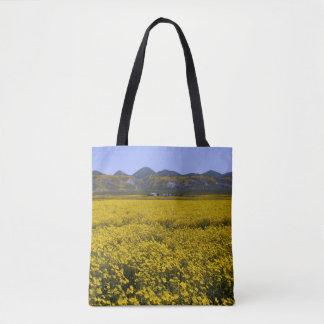 Bolsa Tote Paisagem amarela do campo do Wildflower