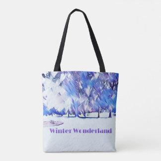 Bolsa Tote Paisagem artística do país das maravilhas branco