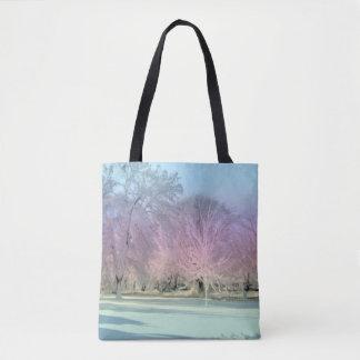 Bolsa Tote [Paisagem ideal das árvores geladas da neve do