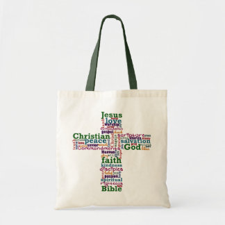 Bolsa Tote Palavra religiosa cristã Art Cross