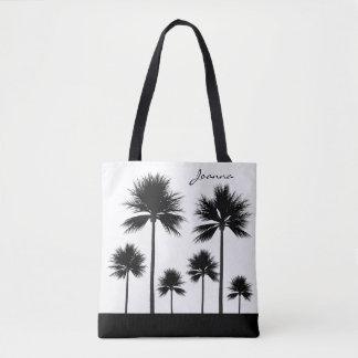 Bolsa Tote Palmeira preto e branco com praia conhecida