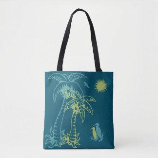 Bolsa Tote Palmeira Sun da praia do paraíso & cerceta verde