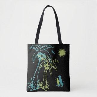 Bolsa Tote Palmeira Sun da praia do paraíso & preto verde dos