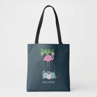 Bolsa Tote Palmeiras cor-de-rosa do flamingo e Succulents