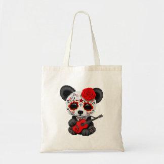 Bolsa Tote Panda vermelha do crânio do açúcar que joga a