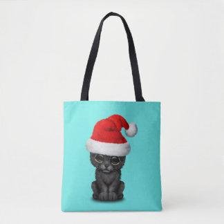Bolsa Tote Pantera preta bonito Cub que veste um chapéu do