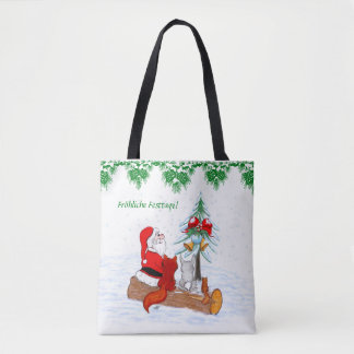 Bolsa Tote Papai noel coelho fox-terrier esquilo, alemão