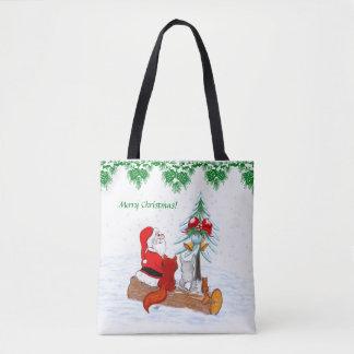 Bolsa Tote Papai Noel com Fox do coelho e esquilo