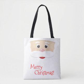 Bolsa Tote Papai noel do Feliz Natal com flocos de neve