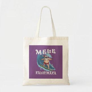Bolsa Tote Papai noel engraçado de Mele Kalikimaka que surfa