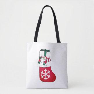 Bolsa Tote Papai Noel pequeno feliz bonito na peúga
