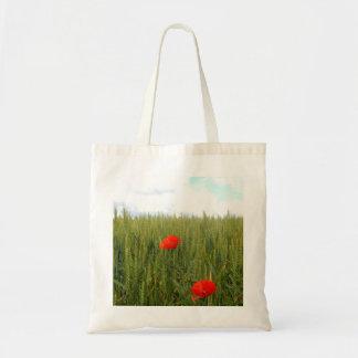 Bolsa Tote Papoilas em uma sacola do orçamento do campo de