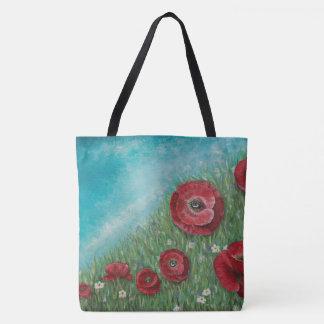 Bolsa Tote Papoilas vermelhas em uma sacola do monte