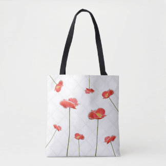 Bolsa Tote Papoilas vermelhas simples mas bonitas