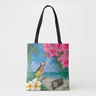 Bolsa Tote Parakeet bonito em um design tropical do oceano