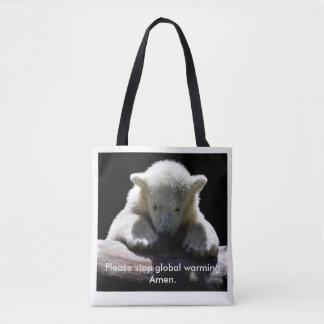 Bolsa Tote Pare a sacola do urso polar de aquecimento global