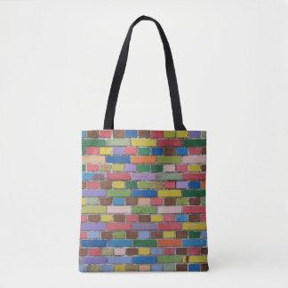 Bolsa Tote Parede de tijolo colorida