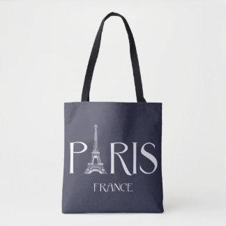 "Bolsa Tote ""Paris - France - sacola da tipografia de Eiffel"