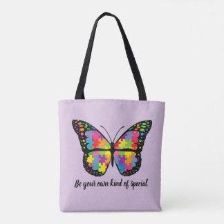 Bolsa Tote Parte do quebra-cabeça da borboleta da consciência