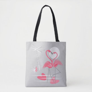 Bolsa Tote Parte traseira da sacola do amor do flamingo multi