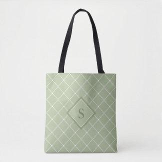 Bolsa Tote Parte traseira da verde azeitona com forma branca
