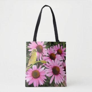 Bolsa Tote Passarinho amarelo e flores cor-de-rosa do cone -