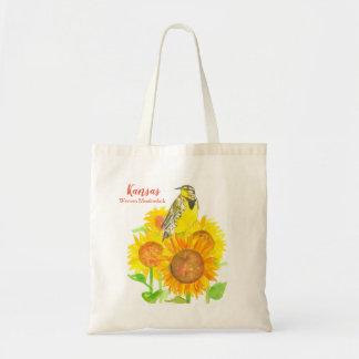 Bolsa Tote Pássaro de estado de girassóis de Kansas