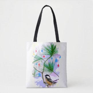 Bolsa Tote Pássaro do Chickadee na sacola da árvore