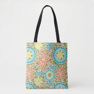Bolsa Tote Pássaro do mosaico e sacola da flor - copo do