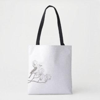 Bolsa Tote Pássaro em uma sacola do esboço do ramo da
