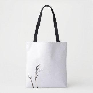 Bolsa Tote Pássaro simples em uma sacola do ramo