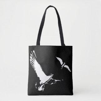 Bolsa Tote Pássaros de vôo pretos & brancos - sacola