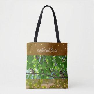 Bolsa Tote Pássaros do amor em uma sacola do ramo