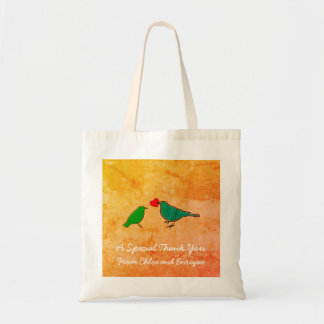 Bolsa Tote Pássaros e casamento da aguarela do coração do
