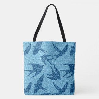 Bolsa Tote Pássaros japoneses em vôo, azuis cobaltos e branco