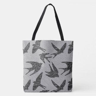 Bolsa Tote Pássaros japoneses em vôo, carvão vegetal e luz -
