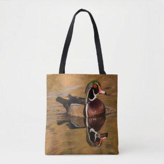 Bolsa Tote Pato de madeira no lago dourado