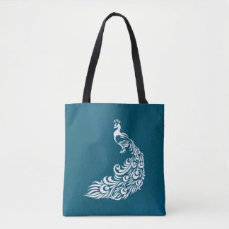 Bolsa Tote Pavão branco no design à moda chique do art deco