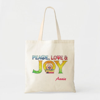 Bolsa Tote Paz, amor e livro personalizado alegria