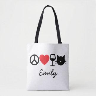 Bolsa Tote Paz, amor, vinho e gatos