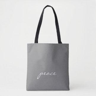 Bolsa Tote Paz feita sob encomenda cinzenta e branca do texto