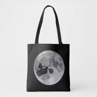Bolsa Tote Pé grande, bicicleta grande e uma lua brilhante