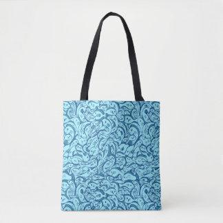 Bolsa Tote Peixes na sacola do azul do mar