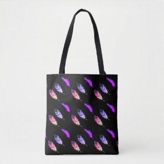 Bolsa Tote Penas coloridas no preto